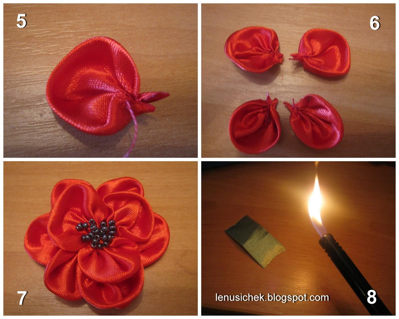 Как сделать цветы из лент своими руками: пошаговый мастер класс с видео