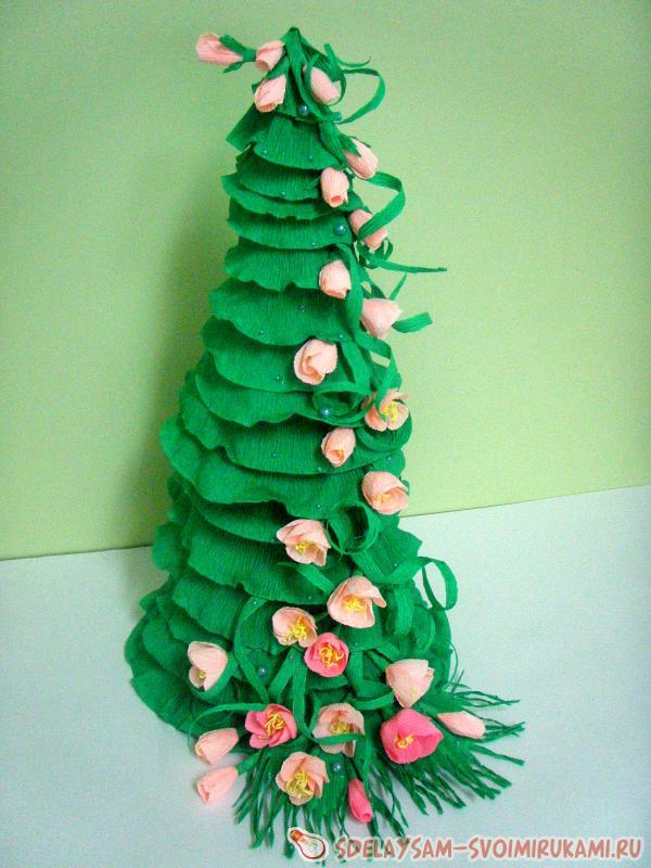 Как сделать елку из гофрированной бумаги поэтапно. елка из гофрированной бумаги своими руками: технология изготовления. лесная красавица из цветной бумаги и картона
