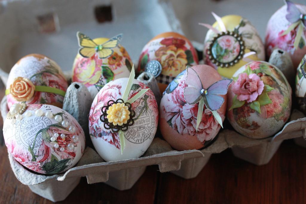 Декупаж пасхальных яиц салфетками – кулинарный рецепт