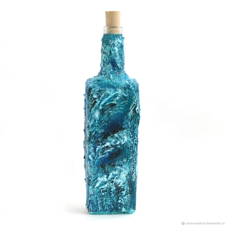 Декупаж бутылок в морском стиле. декоративная бутылка «воспоминания о море