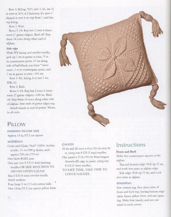 Подушка спицами, подборка из 30 моделей , вязание для дома