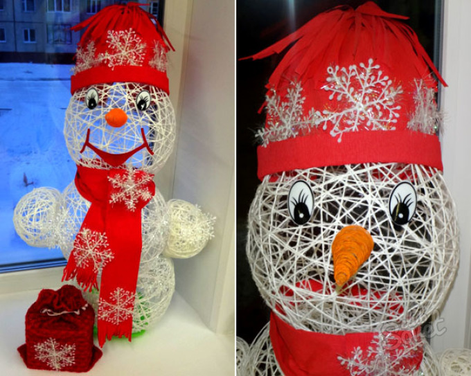 Справится и ребёнок: снеговик из шерстяных ниток своими руками
