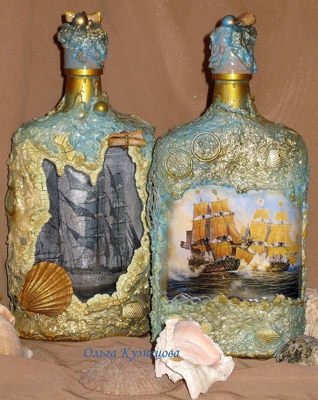 Как оформить бутылку в морском стиле. декоративная бутылка «воспоминания о море
