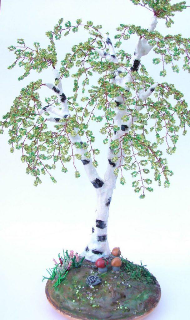 Деревья из бисера своими руками, в виде сердца, бонсай, глициния, поделки, схемы для начинающих, изделия с композицией, подсветкой. мастер-класс плетения с пошаговым фото и видео