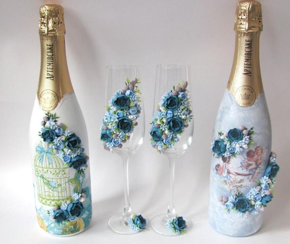 Украшение бутылок на свадьбу - 67 фото фантастических идей
