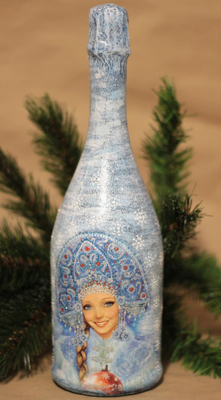 Декупаж бутылок – пошаговая инструкция и описание хода работ по украшению различными материалами (110 фото)
