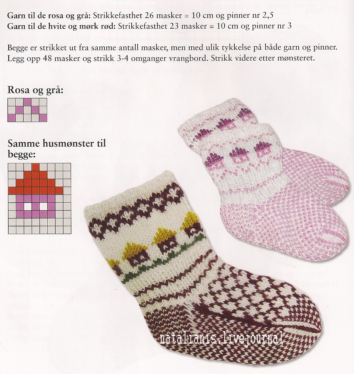 Детские носочки с норвежским орнаментом
