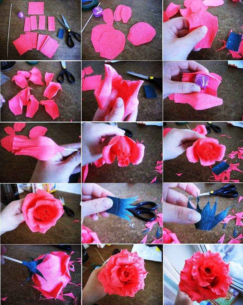 Как сделать бутон розы из гофрированной бумаги | russian-handmade