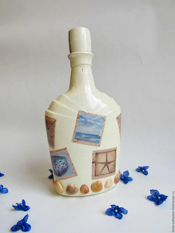 Морская бутылка. декоративная бутылка «воспоминания о море как оформить бутылку в морском стиле