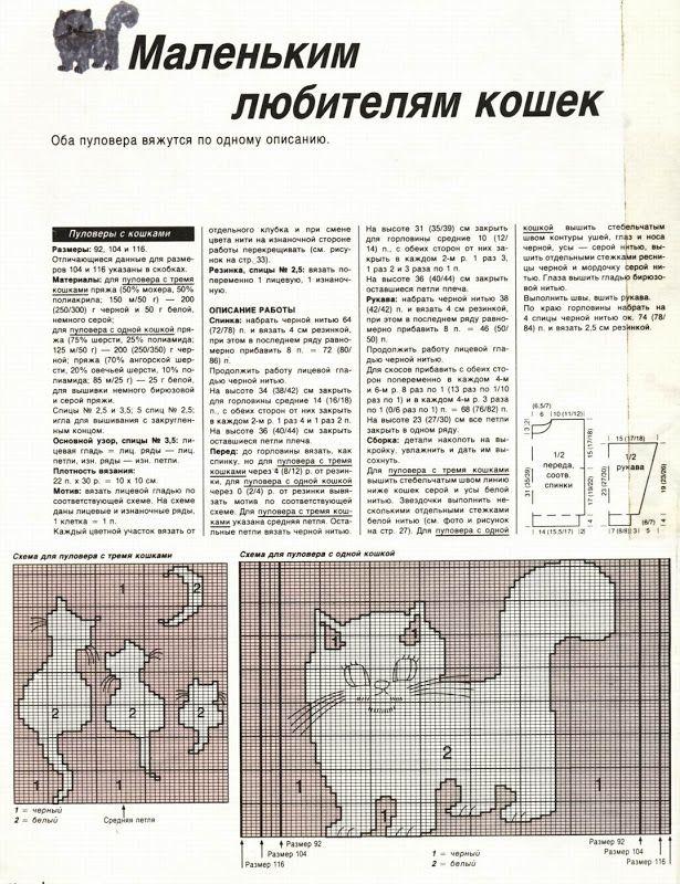 Шапка кошка спицами с описанием и схемой вязания