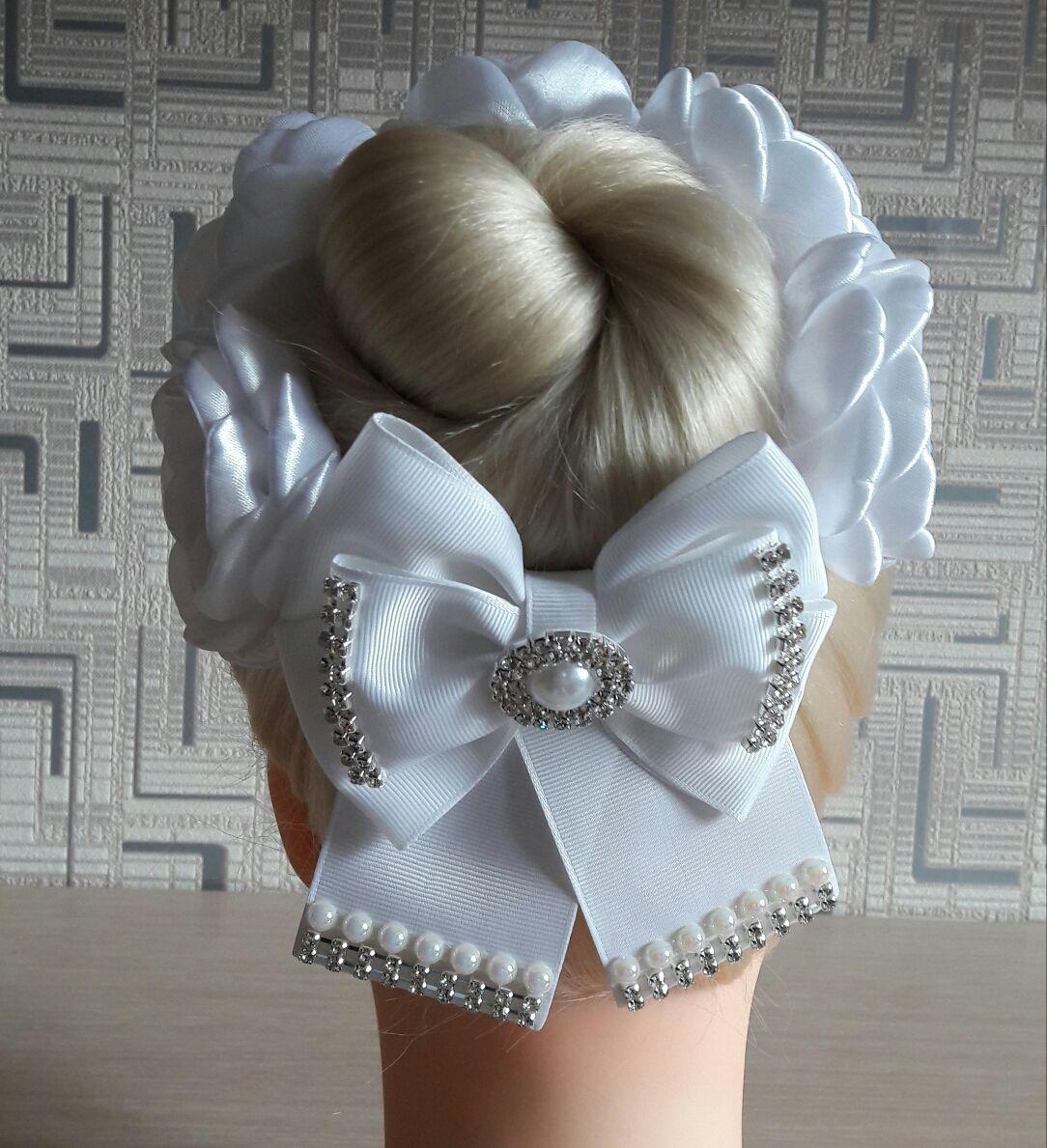 Резинка для волос «белый георгин»