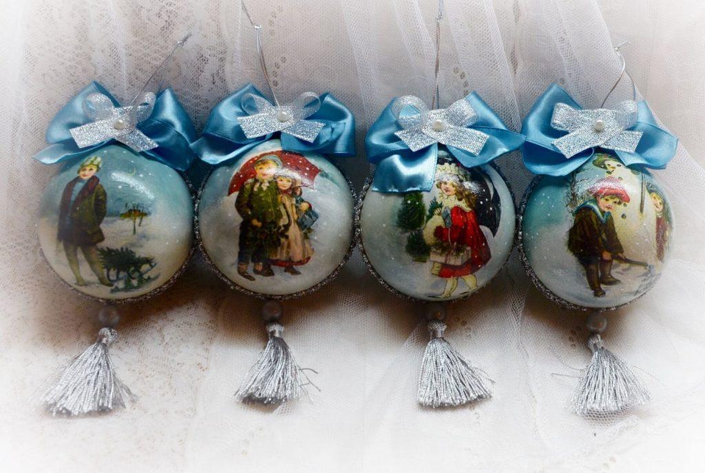Декупаж елочных шаров: пластиковых, деревянных, из пенопласта и стекла, мастер-класс