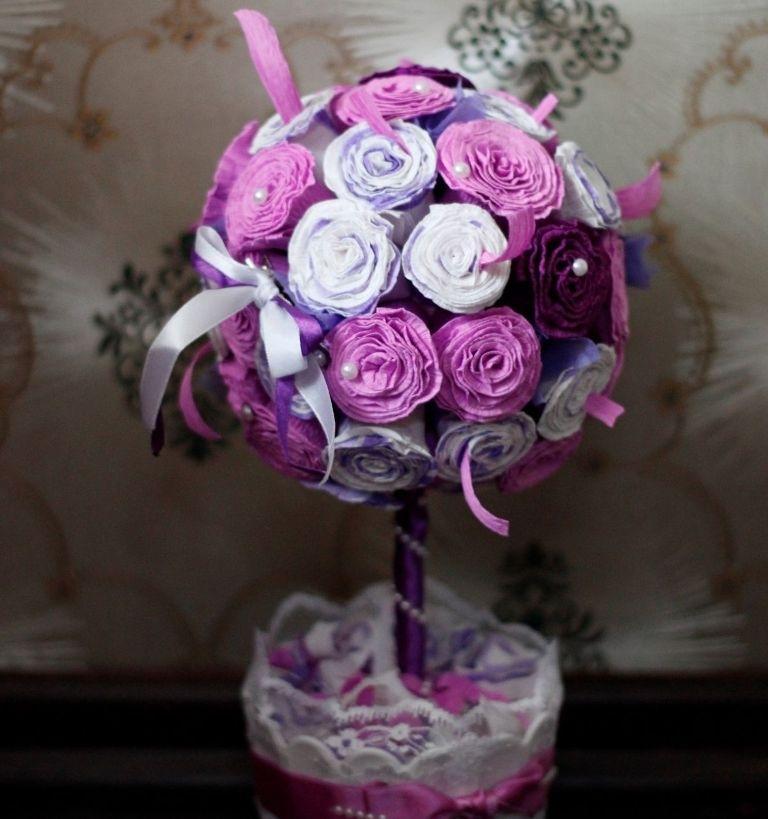Топиарий из гофрированной бумаги своими руками: 3 мастер-класса, пошаговая инструкция изготовления, с розами, дерево счастья, методом тычкование, из цветной бумаги