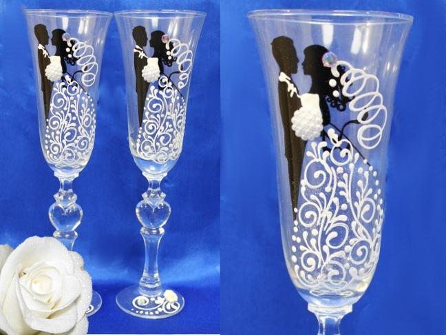 Декор предметов свадьба лепка свадебные бокалы нужен совет фарфор холодный