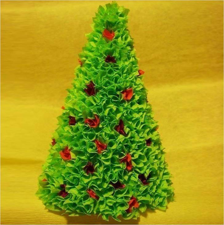 Объемная елка из гофрированной бумаги своими руками