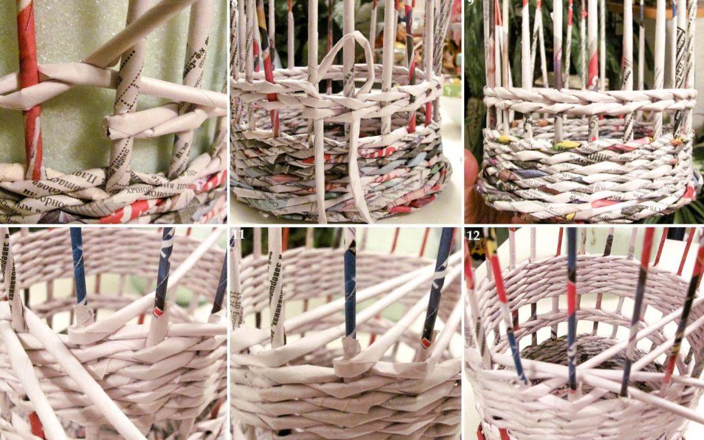Плетение короба из газетных трубочек своими руками