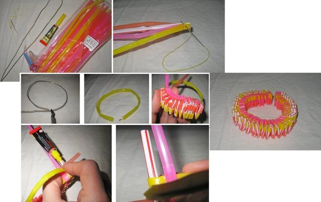 Как плести цветные браслеты из пластиковых трубочек