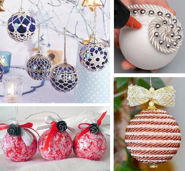 Новогодние шары своими руками: виды и способ изготовления