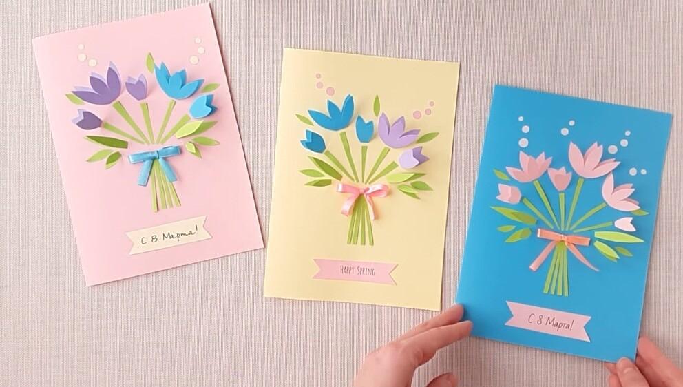 Оригинальные открытки своими руками. открытки с 8 марта