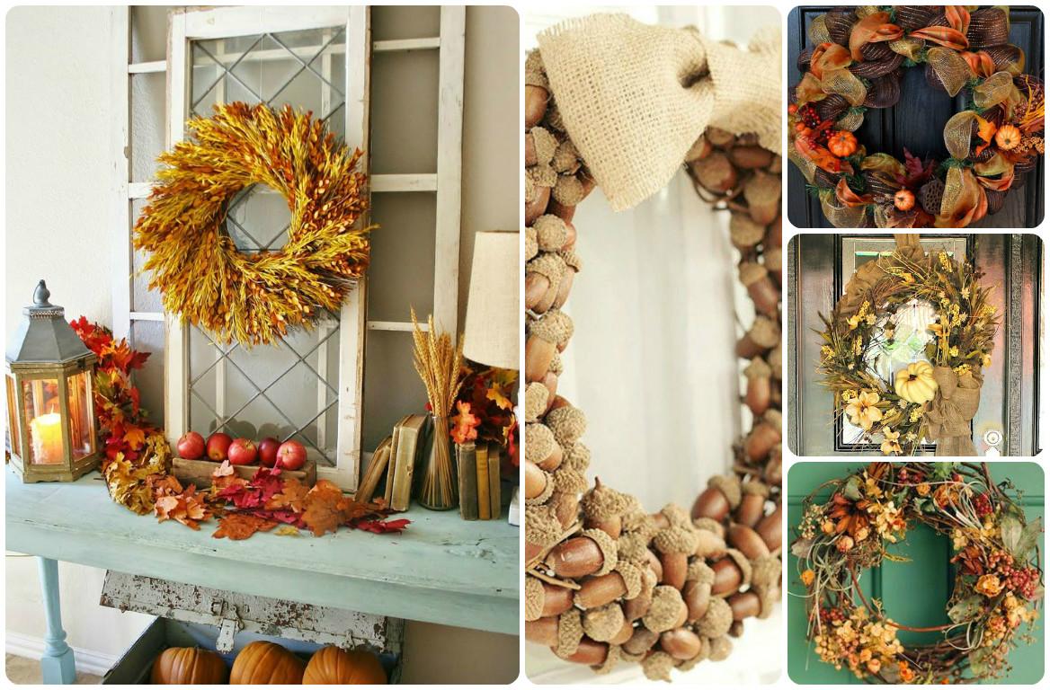 Венок листьев из цветной бумаги. осенний венок на двери: идеи декорирования. венок из рябины