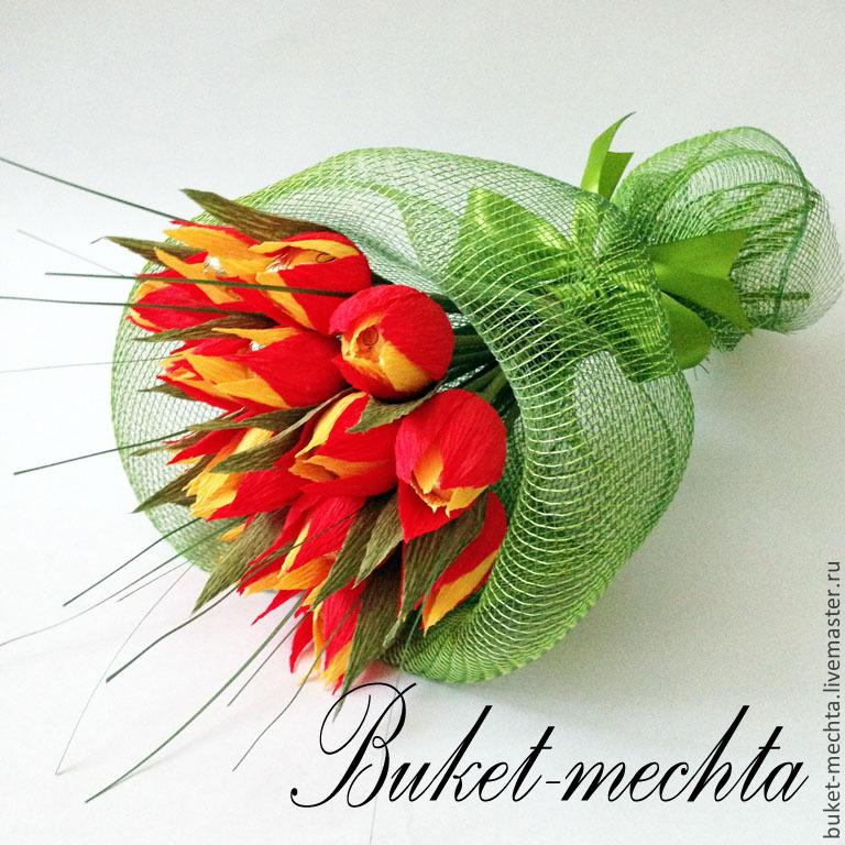 Тюльпаны из гофрированной бумаги с конфетами своими руками — пошаговая инструкция