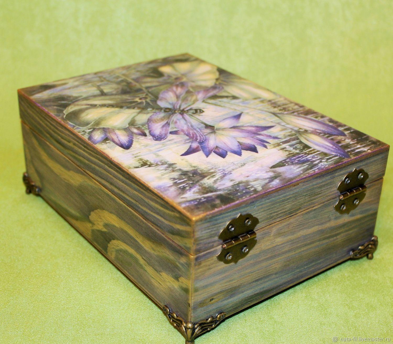 ᐉ шкатулка украшенная тканью, цветами из ткани и бусами - своими руками -