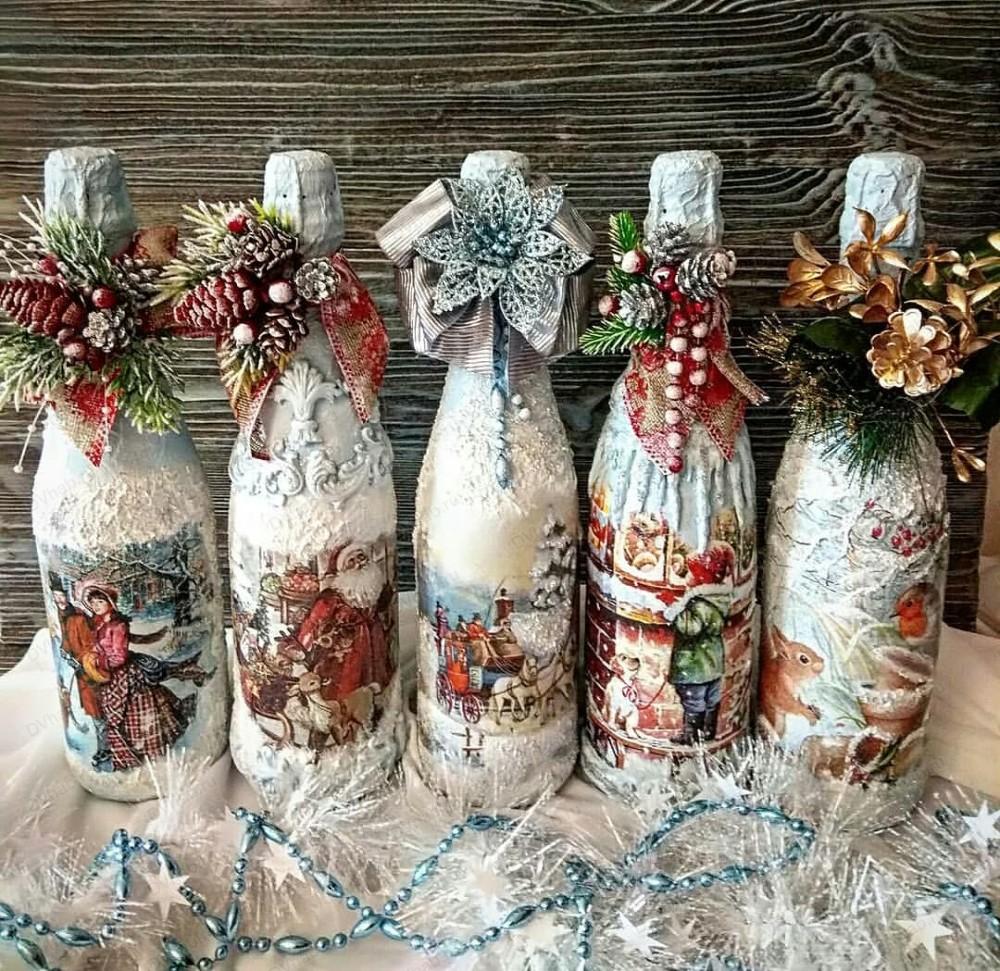 Декупаж бутылки шампанского: идеи и инструкции по работе