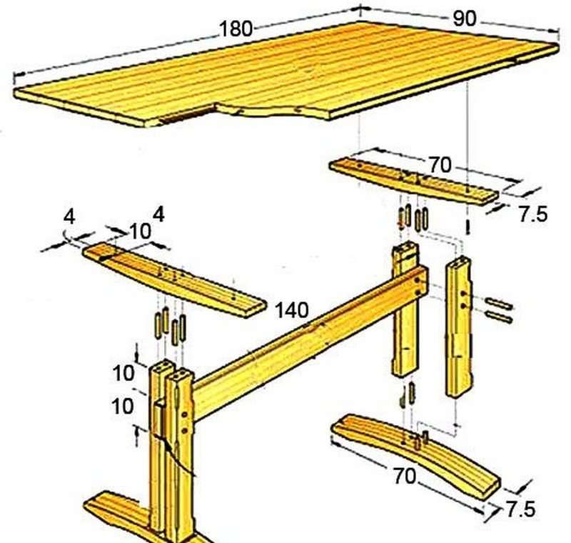 Как сделать деревянный стол для сада своими руками