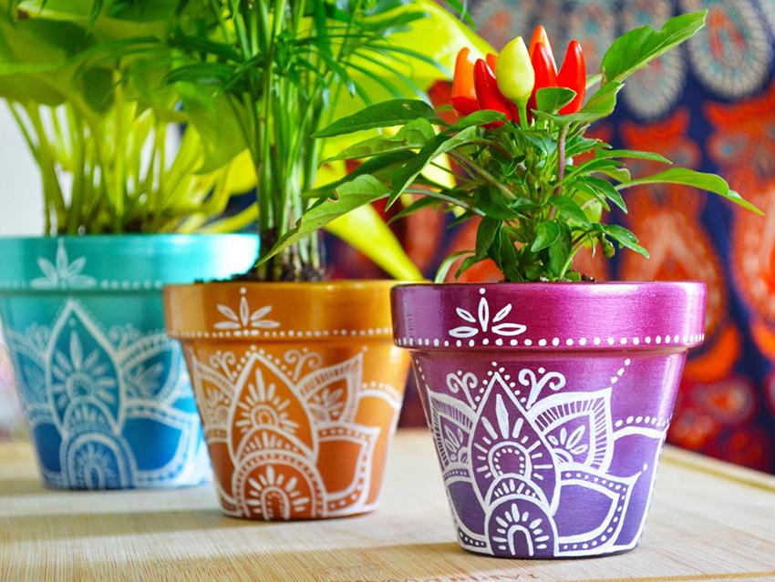 Делаем декор для цветочных горшков своими руками