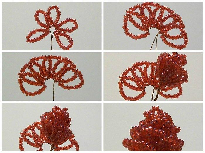 Роза из бисера мастер класс и пошаговое фото плетения голландской эустомы