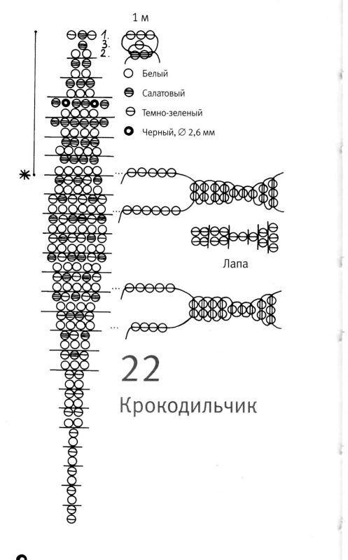 Крокодил из бисера: 2 варианта плетения со схемой и инструкцией