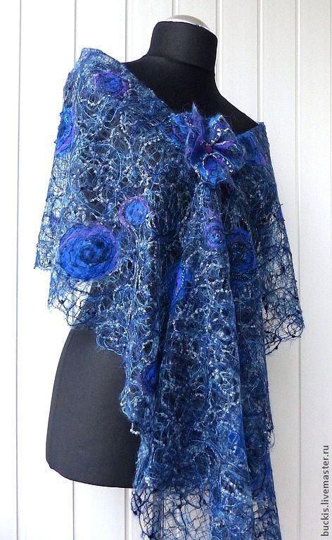 """Гардероб мастер-класс моделирование конструирование шарф в технике """"crazy wool"""" нитки"""