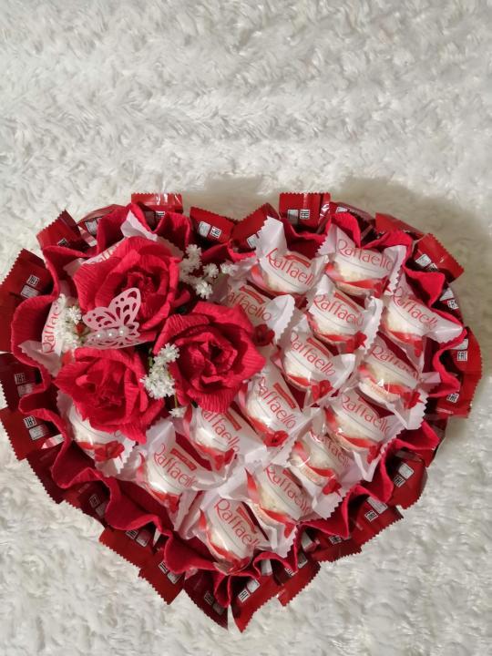 Конфетное сердце - букет из конфет ручной работы - страна мам