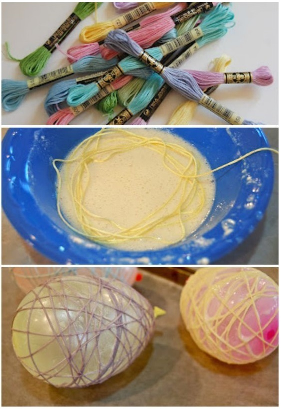Пасхальное яйцо из ниток своими руками ·
