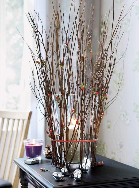 Ветка дерева: что можно сделать, композиция из дерева для интерьера, оформление напольной вазы  - 29 фото