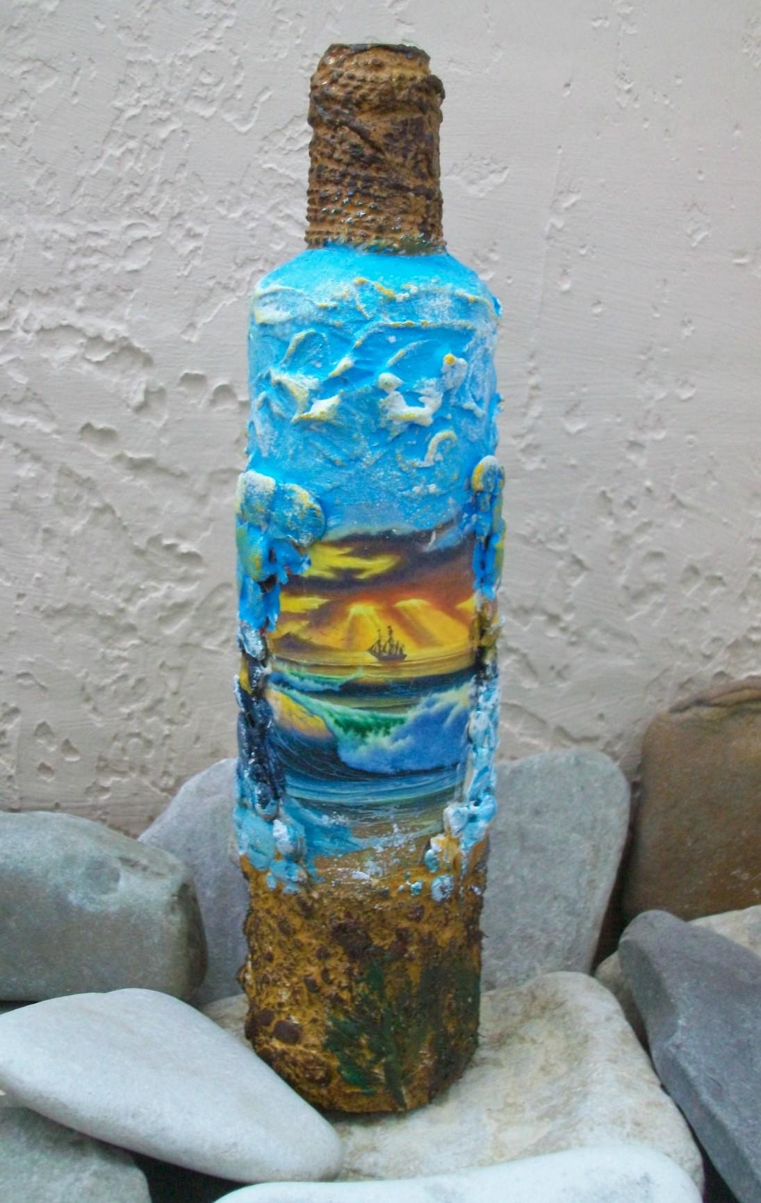 Морская бутылка. декоративная бутылка «воспоминания о море декорировать бутылку своими руками в морском стиле