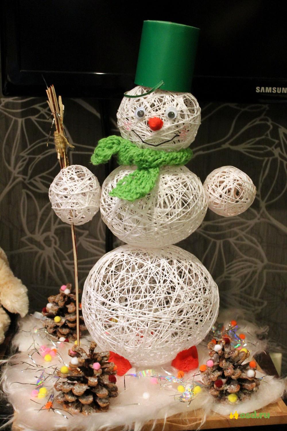 Снеговик своими руками на новый год из ниток и клея снеговик своими руками на новый год из ниток и клея