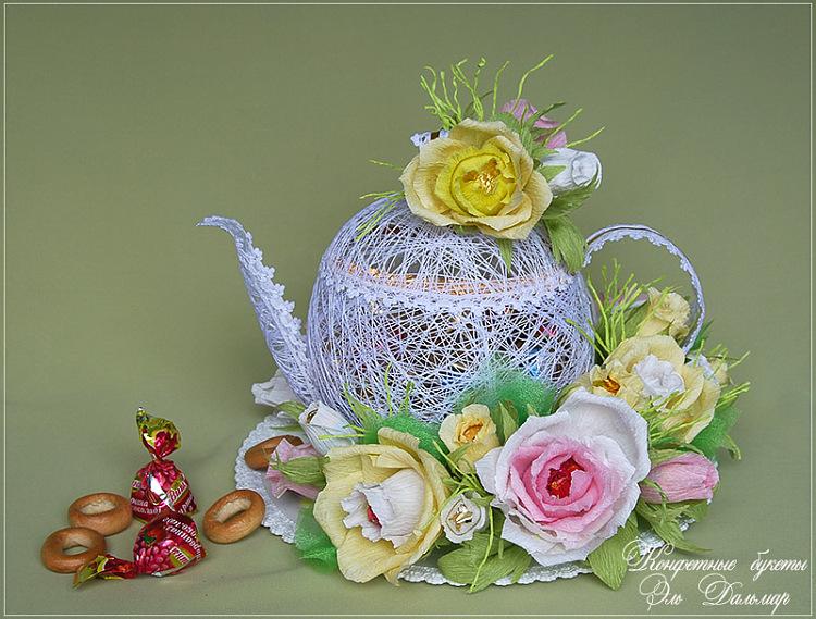 Пасхальный букет из чая и конфет своими руками: фото мастер-класс
