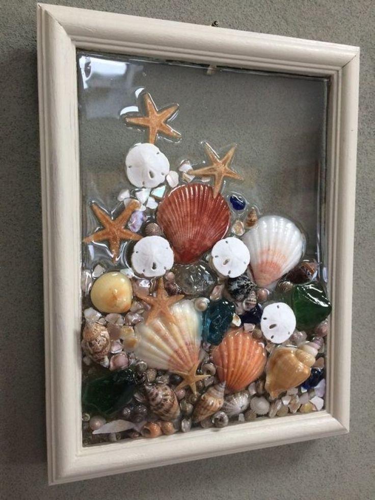 Рамка для фото из ткани и морских ракушек