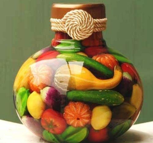 Декоративные бутылки для кухни: декор стеклянных банок и бутылок своими руками