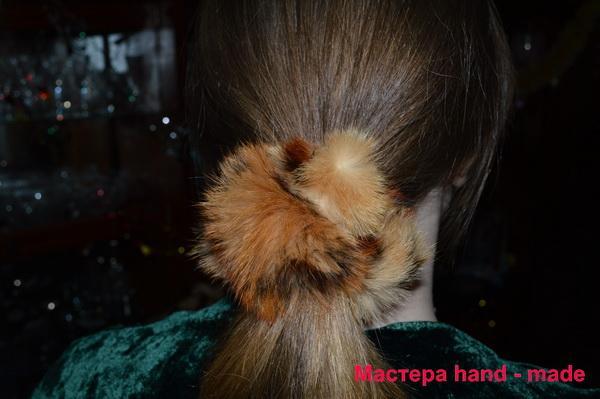 Меховая резинка для волос, своими руками. резинка - цветок из кожи и меха резинка для волос из норки