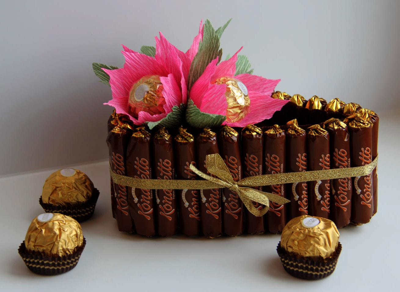Букеты из конфет для начинающих (66 фото) - пошаговые мастер-классы