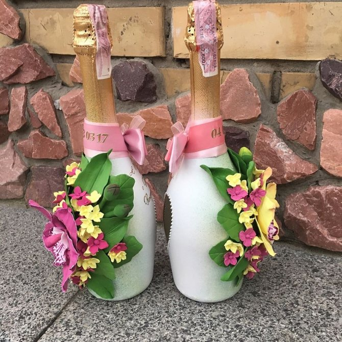 Украшаем бутылку шампанского на новый год