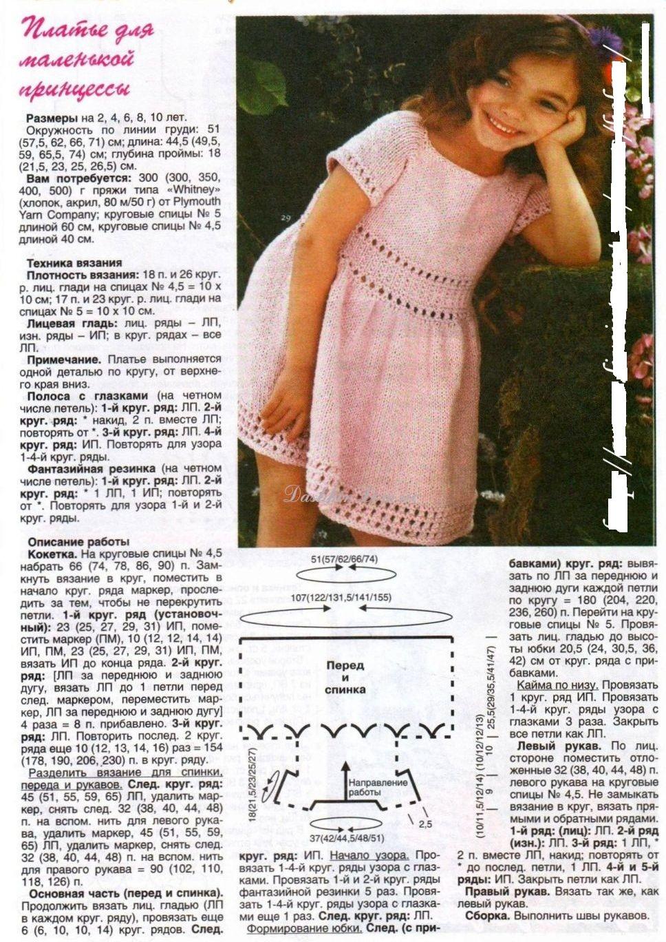 Вязаное платье для девочки спицами со схемами и описанием: подборка фото - сайт о рукоделии
