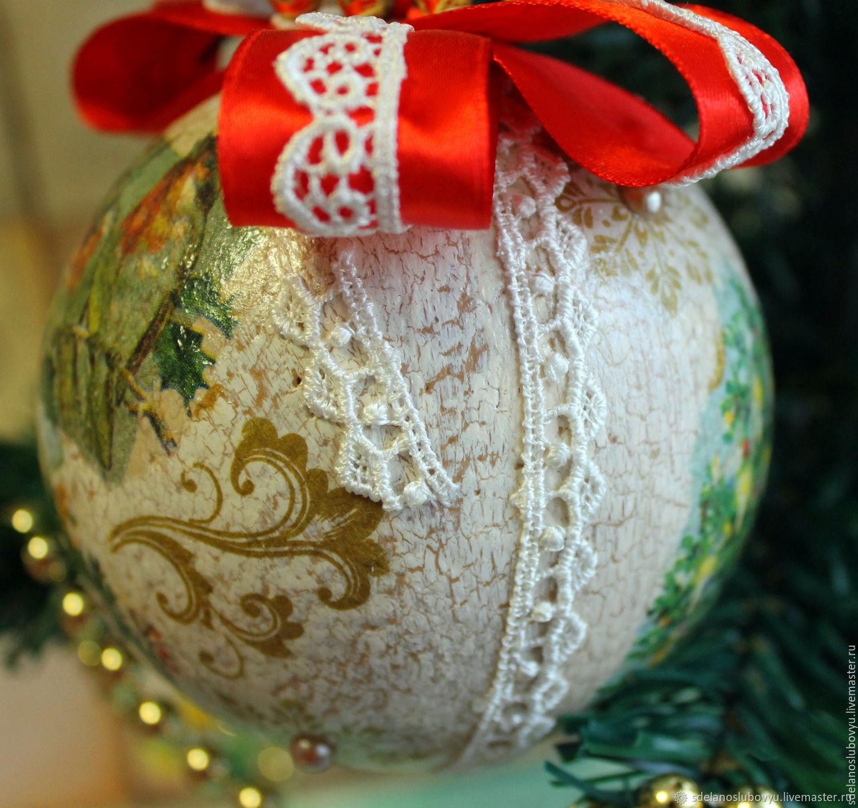 Декупаж новогодних елочных шаров