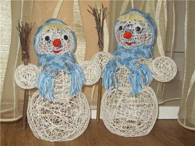 Как сделать снеговика из шерстяных ниток своими руками