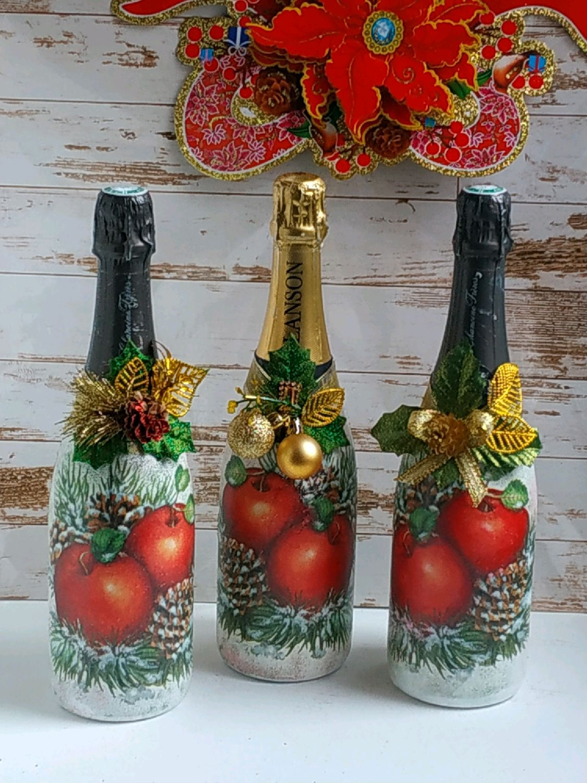 Декупаж бутылок на новый год. украшение бокалов шампанского