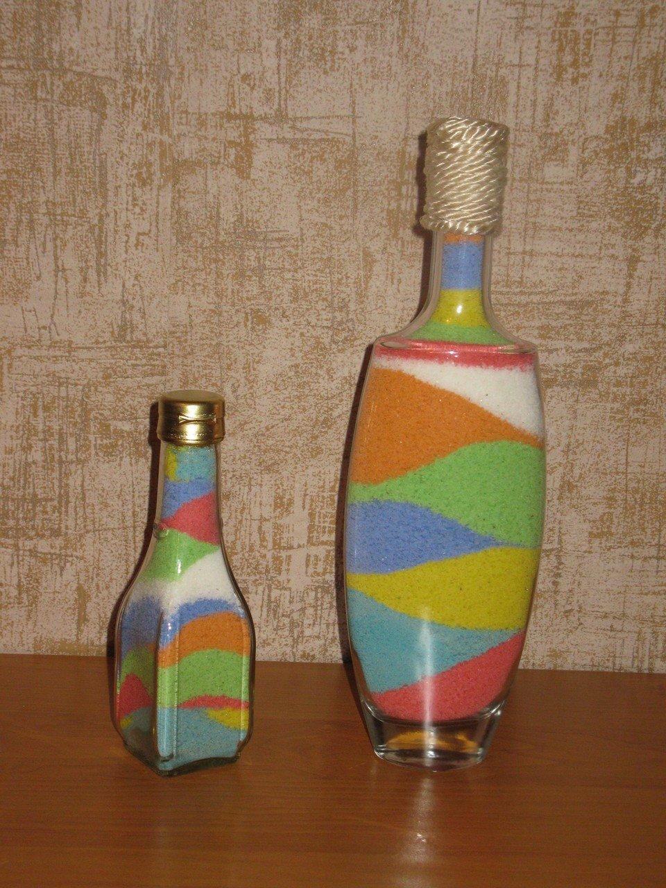 Как сделать бутылку с цветной солью?