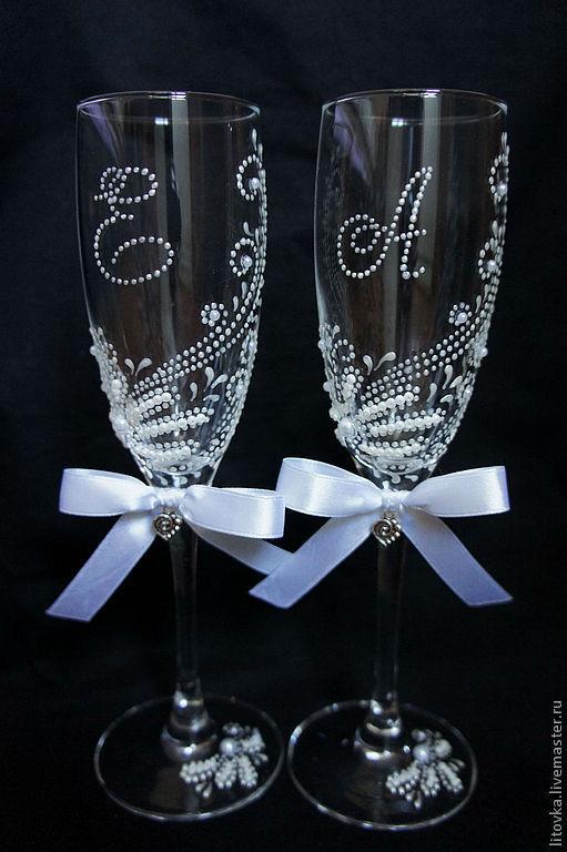 Декор свадебных бокалов своими руками +70 фото примеров