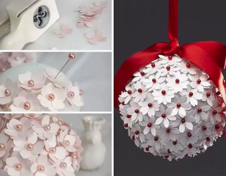 Елочные игрушки из упаковочной бумаги. елочный шар из упаковочной бумаги. новогодние поделки мастер класс. снежинка для елки